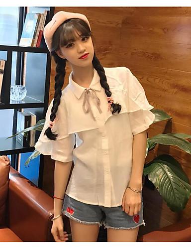 Damen Solide Einfach Lässig/Alltäglich Hemd,Hemdkragen Sommer Kurzarm Polyester