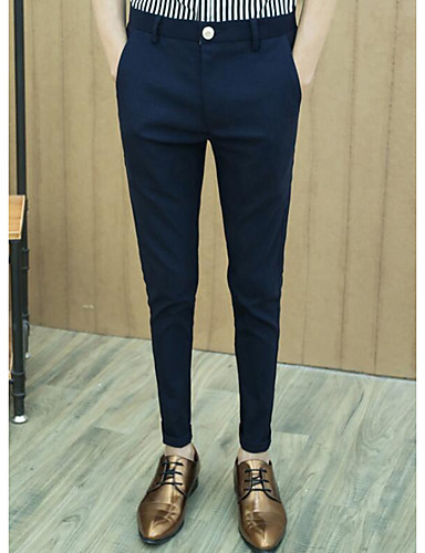 Herren Einfach Mittlere Hüfthöhe Mikro-elastisch Anzug Gerade Hose Solide