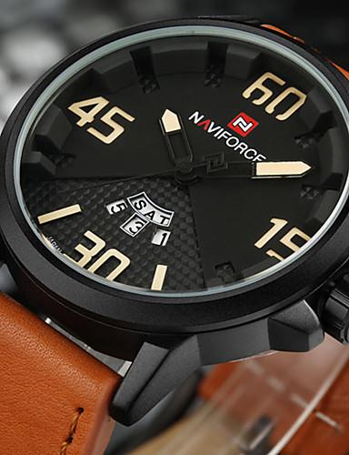 NAVIFORCE Herrn Quartz Armbanduhr Militäruhr Sportuhr Japanisch Kalender Großes Ziffernblatt PU Band Luxus Kreativ Freizeit Einzigartige