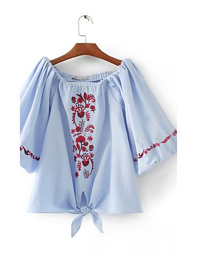 Dámské Výšivka Jednoduchý Sexy Šik ven Tričko-Léto Bavlna Úzký výstřih Tenké Střední
