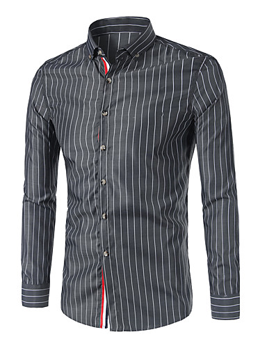 Pánské Proužky Práce Velké velikosti Jednoduché Košile Bavlna Košilový límec Dlouhý rukáv