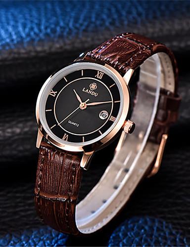 Dámské Módní hodinky Křemenný Voděodolné Kůže Kapela Černá Hnědá