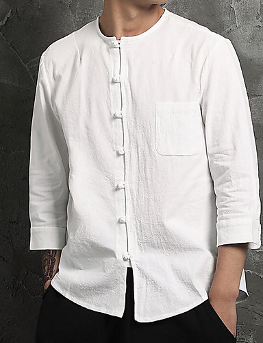 Men's Casual / Chinoiserie Cotton / Linen Shirt - Solid Colored / Long Sleeve