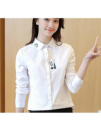 Dámské Jednobarevné Běžné/Denní Jednoduché Košile Bavlna Košilový límec Dlouhý rukáv
