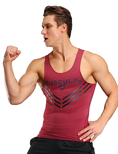 e0492e255e1 Men s Gym Tank Top Black Red Sports Tank Top Top Exercise   Fitness Racing  Leisure Sports Activewear Breathable Quick Dry Sweat-wicking Comfortable  High ...