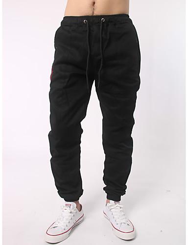 Pánské Aktivní Není elastické Upnuté Aktivní Kalhoty Vypasovaný Mid Rise Čistá barva Jednobarevné