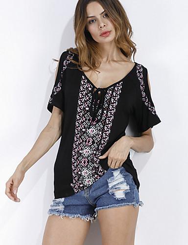Damen Druck Sexy Street Schick Lässig/Alltäglich T-shirt,V-Ausschnitt Sommer Kurzarm Baumwolle Kunstseide Modal Dünn