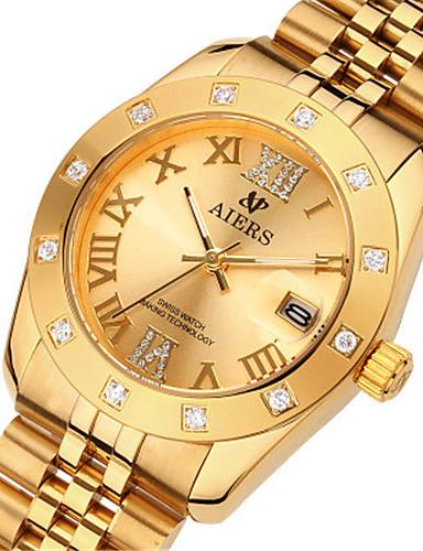 Pánské Módní hodinky Křemenný Kalendář Voděodolné Slitina Kapela Hnědá Zlatá