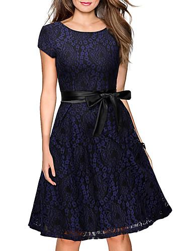 femme d contract chic de rue mi long robe ample courte dentelle fleur broderie col arrondi. Black Bedroom Furniture Sets. Home Design Ideas