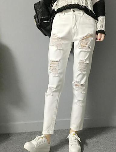 Dámské Jednoduchý strenchy Upnuté Kalhoty Vypasovaný Mid Rise Jednobarevné