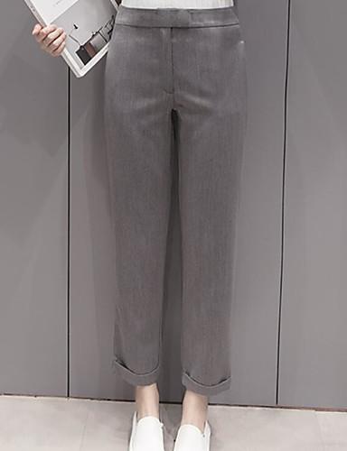Damen Einfach Mittlere Hüfthöhe Mikro-elastisch Chinos Schlank Hose einfarbig