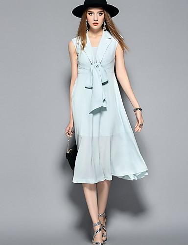 Damen A-Linie Kleid-Ausgehen Lässig/Alltäglich Niedlich Solide V-Ausschnitt Midi Ärmellos Seide Polyester Frühling Sommer Mittlere