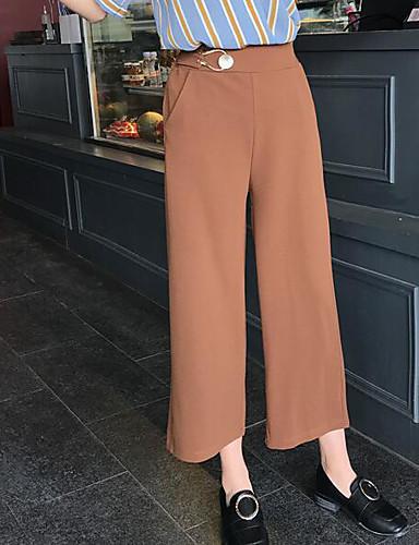 Dámské Sexy Mikro elastické Volné Kalhoty Rovné Mid Rise Jednobarevné