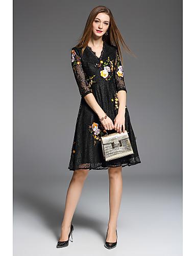 Damen A-Linie Kleid-Ausgehen Lässig/Alltäglich Party/Cocktail Stickerei V-Ausschnitt Übers Knie ½ Länge Ärmel Polyester-TaftFrühling