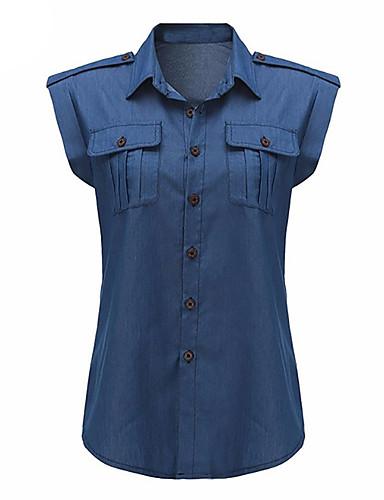 Dámské Jednobarevné Na běžné nošení Sexy Šik ven Košile-Jaro Léto Polyester Košilový límec Bez rukávů Střední