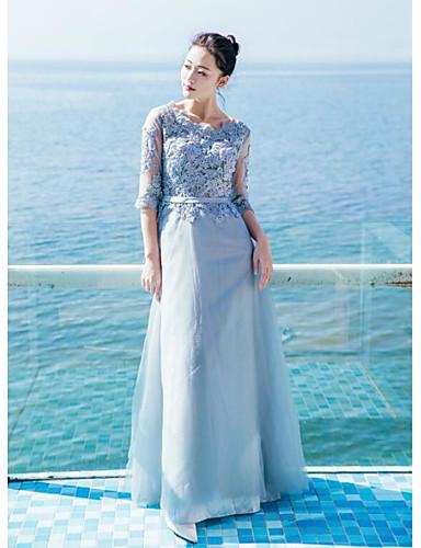 Damen Lose Kleid-Lässig/Alltäglich Solide Rundhalsausschnitt Midi Baumwolle Sommer Hohe Hüfthöhe Mikro-elastisch Dünn