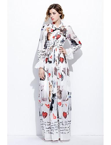 Damen Swing Kleid-Ausgehen Lässig/Alltäglich Niedlich Druck Rundhalsausschnitt Maxi Langarm Seide Frühling Sommer Mittlere Hüfthöhe