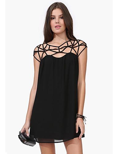 Damen Das kleine Schwarze Kleid-Lässig/Alltäglich Sexy Solide Schulterfrei Übers Knie Ärmellos Polyester Sommer Hohe Hüfthöhe