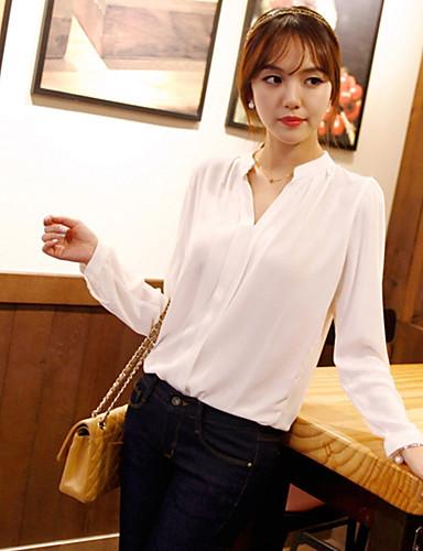 Damen Solide Einfach Lässig/Alltäglich Hemd,Asymmetrisch Langarm Acryl