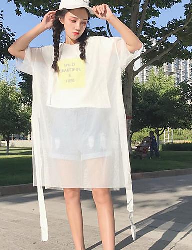 Damen Patchwork Buchstabe Einfach Lässig/Alltäglich T-shirt,Rundhalsausschnitt Frühling Sommer Kurzarm Baumwolle Dünn