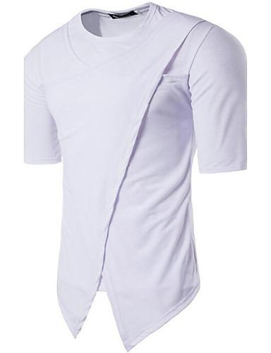 Herrn Solide / Einfarbig - Freizeit Baumwolle T-shirt, Rundhalsausschnitt / Kurzarm