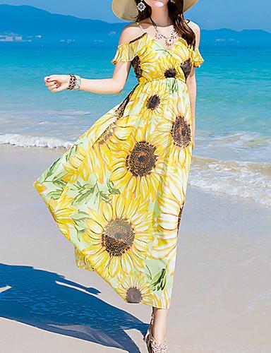 Damen Ausgehen Strand Freizeit Hülle Maxi Kleid,Druck Bateau Kurzarm Seide Sommer