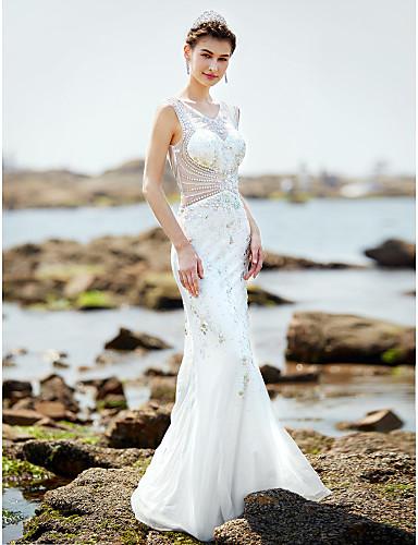Trompet / Deniz Kızı V-Yaka Yere Kadar Saten Tül Boncuklama ile Düğün elbisesi tarafından LAN TING BRIDE®