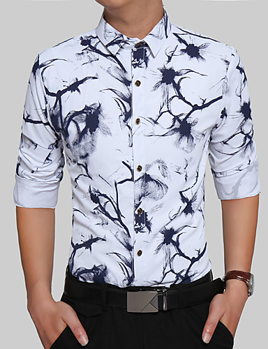 Homens Camisa Social Vintage Boho Estilo Formal Clássico Fashion Jacquard, Geométrica Árvores/Folhas Geométrico Algodão