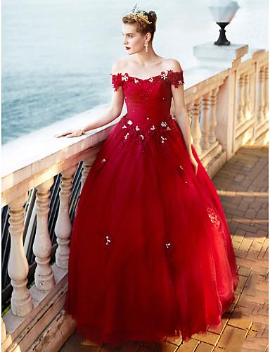 Princesa Longo Renda Tule Vestido de casamento com Cristais Miçangas Renda de QZ