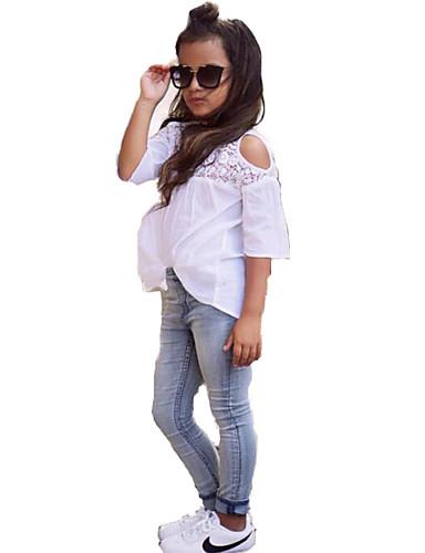 Mädchen Kleidungs Set Modisch Spitze Denim Polyester-Taft Sommer Halbarm Zum Kleid Weiß