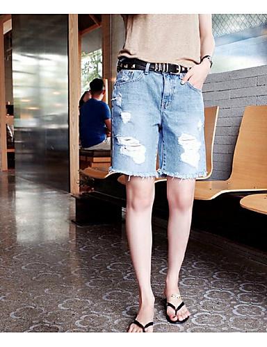 Dámské Jednoduchý Není elastické Kraťasy Kalhoty Rovné Mid Rise Jednobarevné