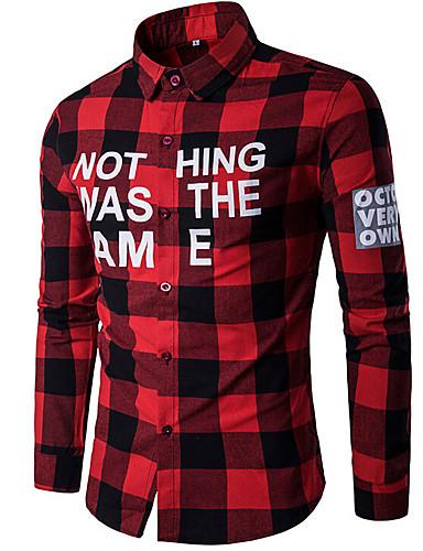 Homens Camisa Social Estampado, Xadrez Algodão Colarinho Clássico