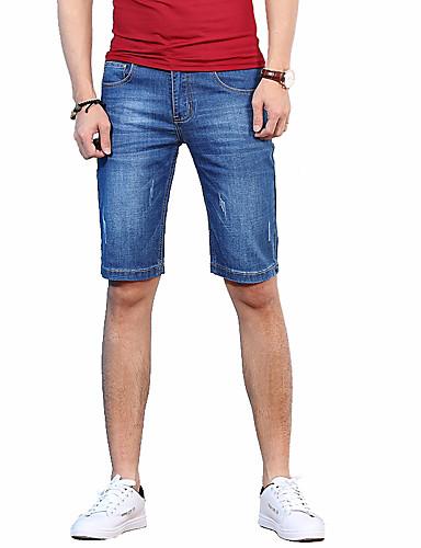 Herren Einfach Mittlere Hüfthöhe Mikro-elastisch Jeans Kurze Hosen Gerade Schlank Hose Solide