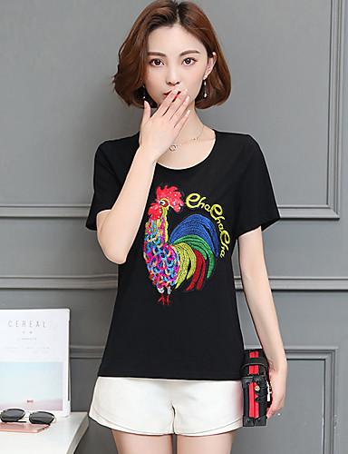 Dámské Jednobarevné Jednoduché Tričko-Léto Bavlna Kulatý Krátký rukáv Střední