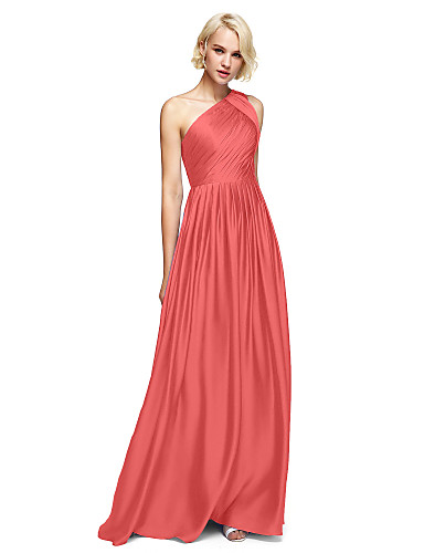 4b9868fa7ba A-Line One Shoulder Floor Length Satin Chiffon Bridesmaid Dress with Side  Draping by LAN TING BRIDE®