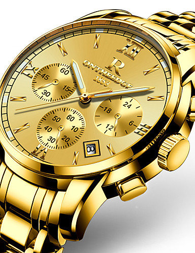 Men's Wrist Watch Japanese 30 m Calendar / date / day Noctilucent Stainless Steel Band Analog Charm Luxury Casual Gold - Gold Golden yellow Two Years Battery Life
