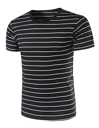 Homens Camiseta Casual Listrado Algodão Decote Redondo