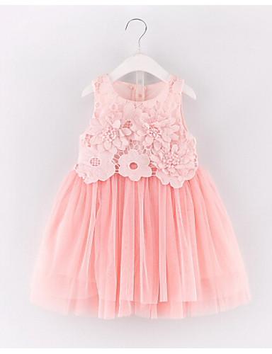 Dívka je Bavlna Umělé hedvábí Léto Šaty, Bez rukávů Krajkový Světlá růžová