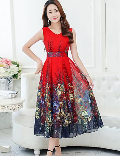 5e42acba1 Mulheres Tamanhos Grandes Feriado Chifon balanço Vestido - Estampado, Floral  Decote V Médio