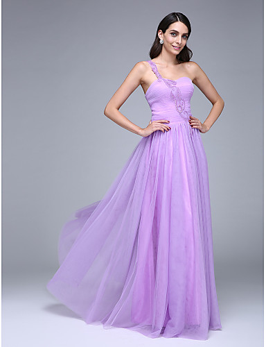 A-Line One Shoulder Floor Length Tulle Prom Formal Evening Dress with Beading Ruched by TS Couture®