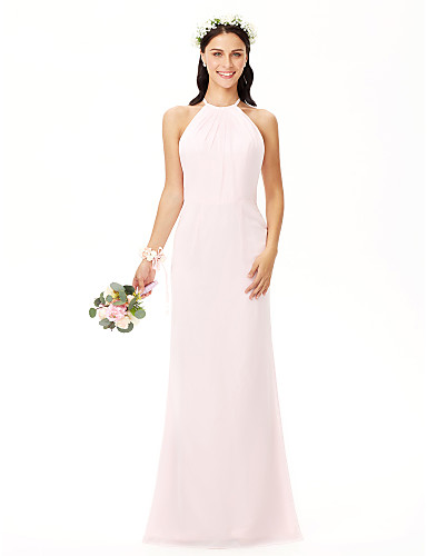 Sheath   Column Jewel Neck Floor Length Chiffon Bridesmaid Dress with  Pleats by LAN TING BRIDE®  05955412 c4e53f551768