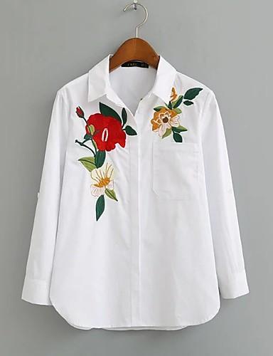 Damen Blumen Stickerei Einfach Sexy Street Schick Hemd,Hemdkragen Sommer Baumwolle Dünn Mittel