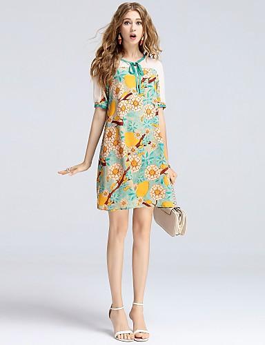 Damen A-Linie Kleid-Alltag Ausgehen Lässig/Alltäglich Verabredung Niedlich Street Schick Anspruchsvoll Blumen RundhalsausschnittÜbers