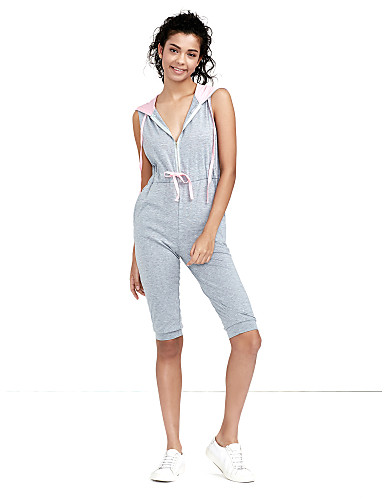 36dff43a522b Women s Daily   Sports Active Deep V Gray Jumpsuit