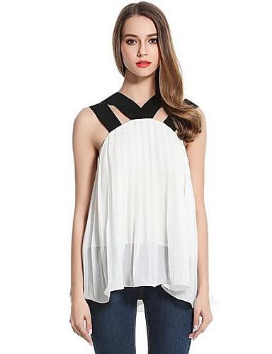 Damen Solide Einfach T-shirt,Rundhalsausschnitt Ärmellos Polyester
