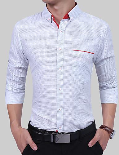 Homens Tamanhos Grandes Camisa Social - Festa Temática Asiática Boho Estilo Formal Fashion, Poá Algodão