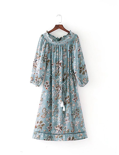 Damen Lose Etuikleid Kleid-Ausgehen Lässig/Alltäglich Einfach Street Schick Blumen Bateau Midi Seide Baumwolle Sommer Herbst Mittlere