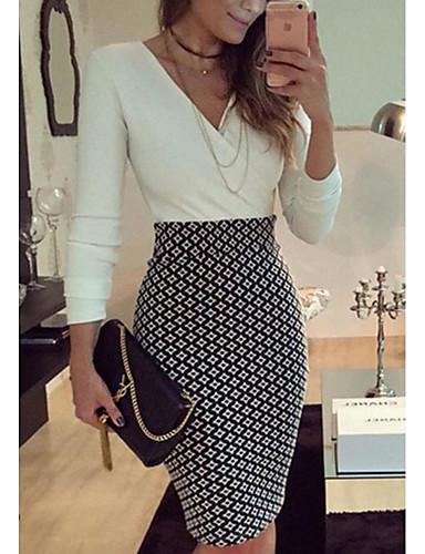 Damen Alltag Ausgehen Hülle Mini Kleid Solide V-Ausschnitt Langarm Sommer