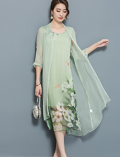 Damen Zweiteiler Kleid-Ausgehen Übergröße Street Schick Blumen Peter Pan-Kragen Midi Polyester Nylon Sommer Herbst Mittlere Hüfthöhe
