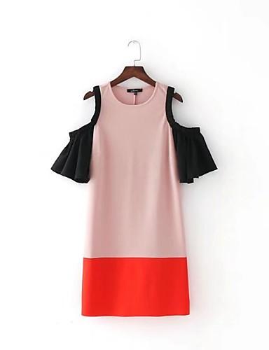 Damen Lose Etuikleid Kleid Einfach Street Schick Einfarbig Rundhalsausschnitt Übers Knie Kurzarm Seide Baumwolle Sommer Herbst Mittlere